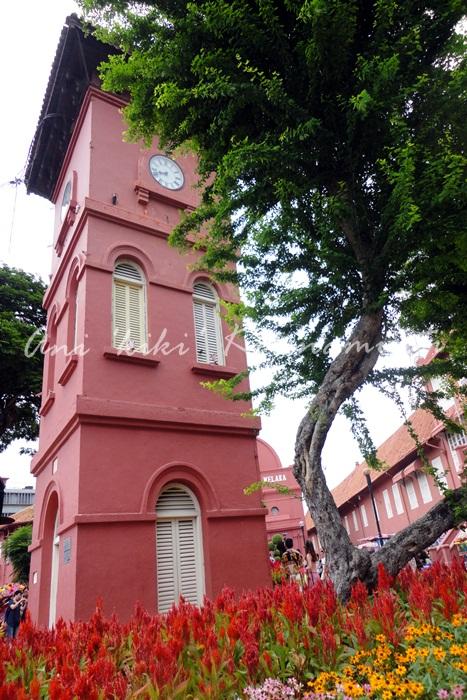 melaka, clock tower, red square