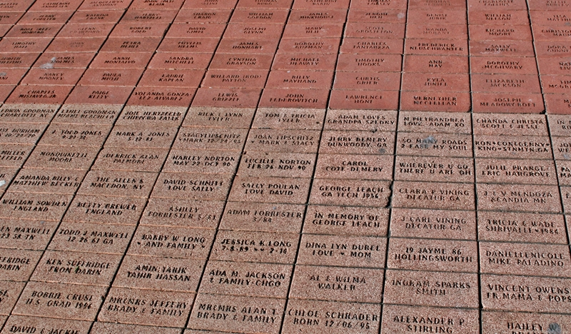 "Engraved bricks-The park was paid for in part by the donations of thousands of individuals who ""bought"" bricks"