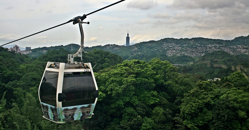 taipei and taipei 101 seen from gondola to maokong