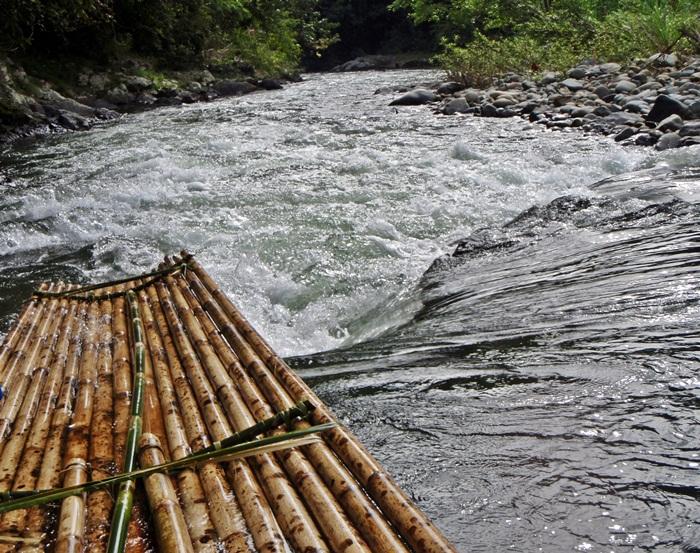 bamboo raft at amandit river