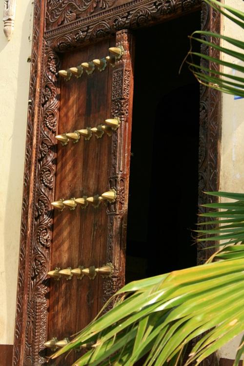 Traditional, Zanzibari carved wooden door