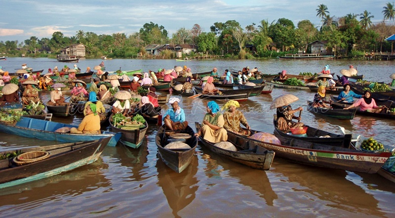 lok baintan floating market, south kalimantan, indonesia